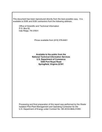 U.S. Department of Energy 1999 - Waste Isolation Pilot Plant - U.S. ...