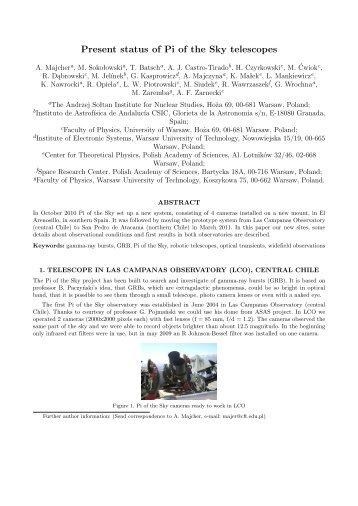 Present status of Pi of the Sky telescopes