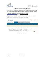 Library Catalogue: My Account - Winnipeg Public Library