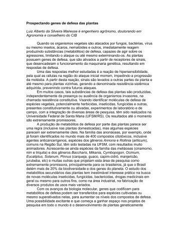 PROSPECTANDO GENES DE DEFESA DAS PLANTAS - CIB
