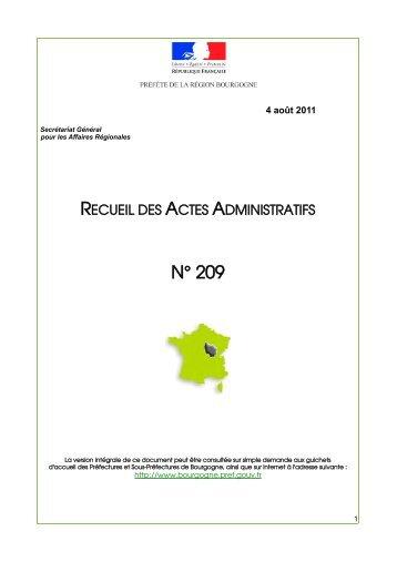 RAA 209 - Préfecture de la Côte-d'Or