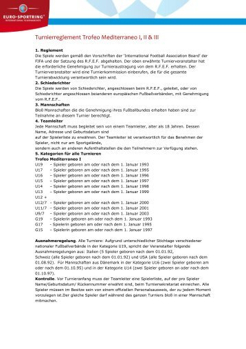 Turnierreglement Trofeo Mediterraneo I, II & III