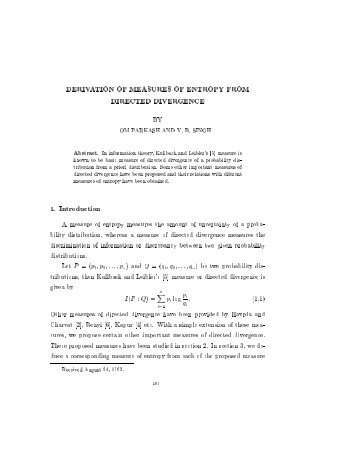 DERIVATION OF MEASURES OF ENTROPY FROM DIRECTED ...