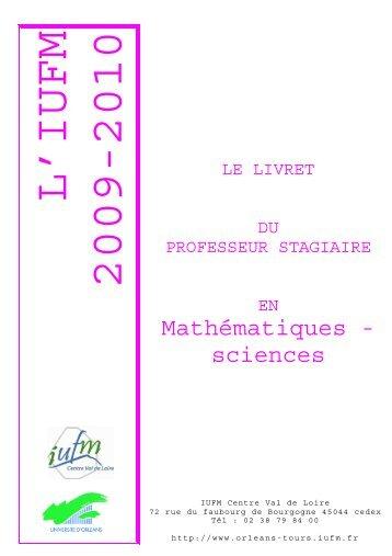Livret disciplinaire Mathématiques Sciences - IUFM