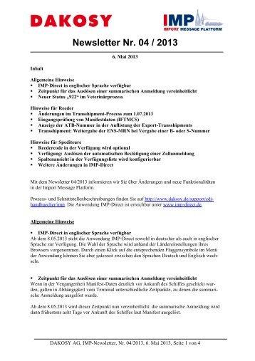 Newsletter Nr. 04 / 2013 - DAKOSY Datenkommunikationssystem AG