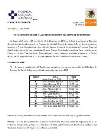Acta de la XII Sesión Ordinaria del Comité de Información 2011