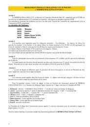 REGLEMENT POUR LA MERIDA WALLONIA CUP 2013 - FCWB