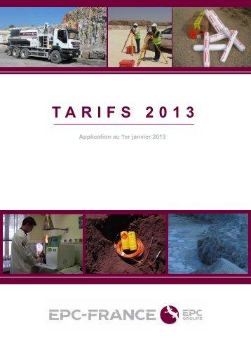 Tarifs 2013 et conditions générales de vente EPC FRANCE