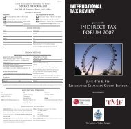 Indirect Tax Forum 2007 - International Tax Review