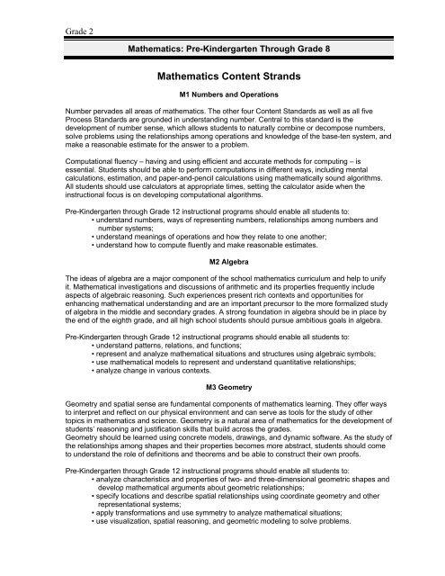 DoDEA Mathematics Standards: Grade 2
