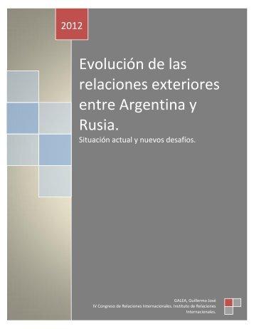 relaciones exteriores entre Argentina y Rusia.