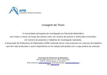 Listagem de Teses - Associação de Professores de Matemática