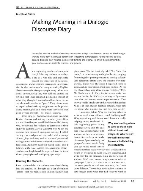 Making Meaning in a Dialogic Discourse Diary - Moravian College