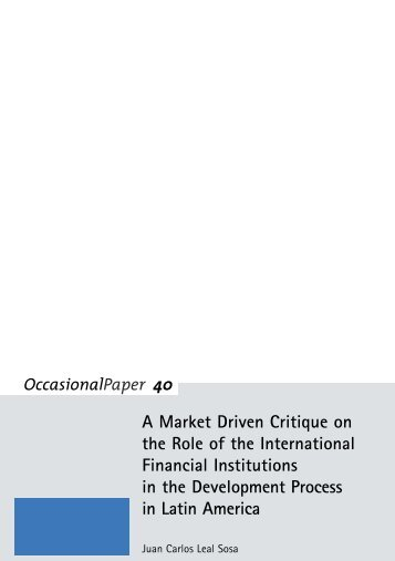 A Market Driven Critique on the International Financial Institutions ...