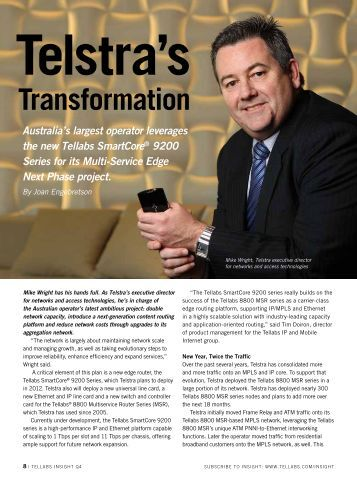Telstra's Transformation - Tellabs