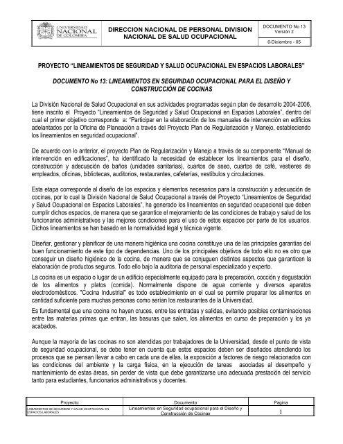 Lineamientos De Cocinas Universidad Nacional De Colombia