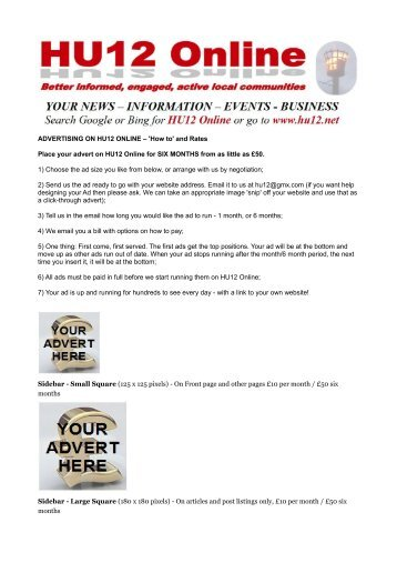 and Rates Place your advert on HU12 Online for SIX MONTHS from ...