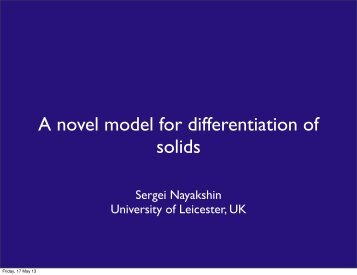 A novel model for differentiation of solids