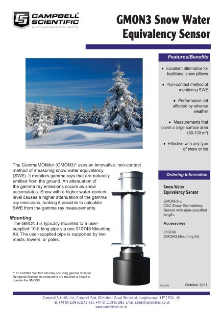 GMON3 Snow Water Equivalency - Campbell Scientific
