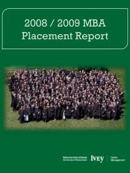 2007/2008 MBA Placement Report - Richard Ivey School of ...