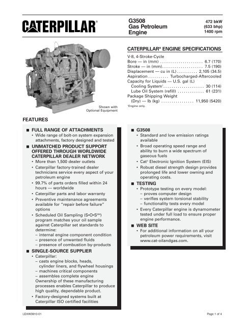 G3508 Gas Petroleum Engine