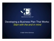 Developing a Business Plan That Works: Start with the end in mind