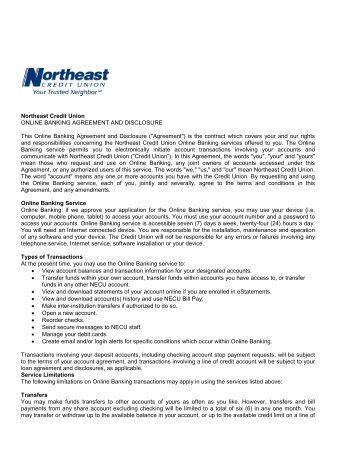 Northeast Credit Union ONLINE BANKING AGREEMENT AND .