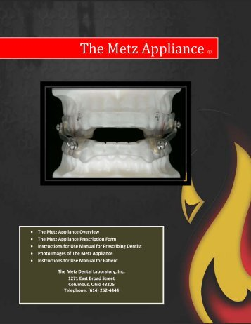 Metz Appliance FDA Reference Manual - The METZ Center for ...