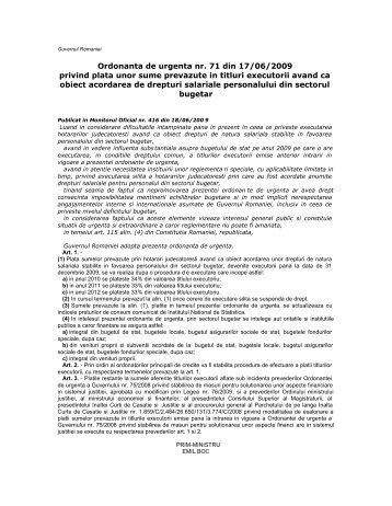 29.11.2011 OUG nr. 71/2009 privind plata unor sume prevazute in ...