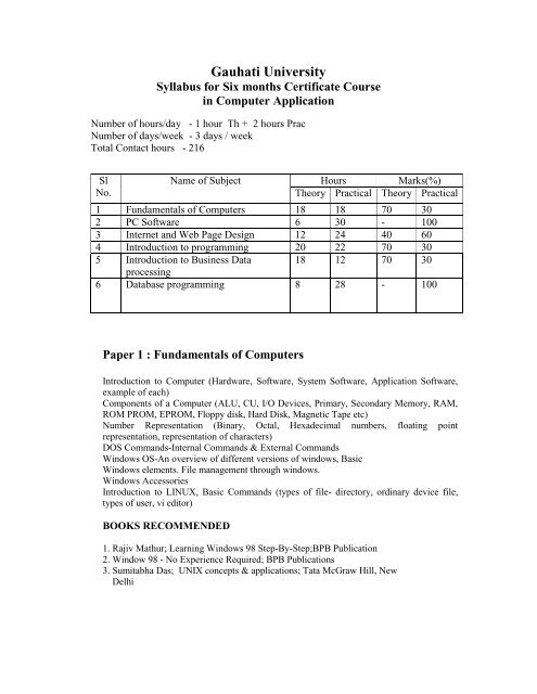 Certificate Course In Computer Application Six Months Gauhati