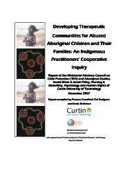 Developing therapeutic communities for abused Aboriginal children ...