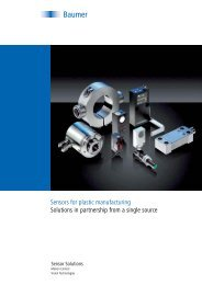 Sensors for plastic manufacturing Solutions in partnership ... - Baumer