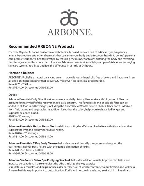 Recommended ARBONNE Products - Beaty Nation | Arbonne | Pure