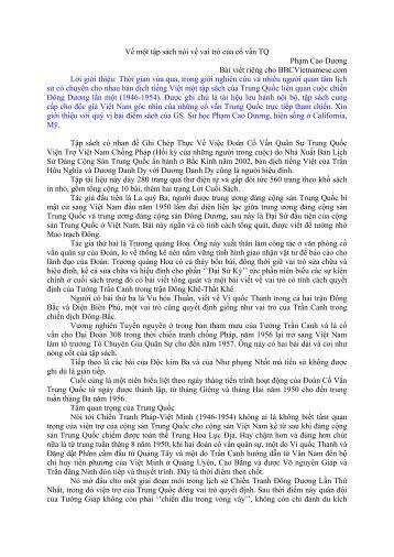 Về một tập sách nói về vai trò của cố vấn TQ / Phạm Cao ... - Giao cảm