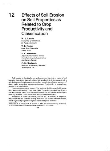 Effects of Soil Erosion on Soil Properties as - USDA-ARS Wind ...