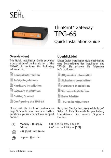 ThinPrint Gateway TPG-65 - SEH Computertechnik GmbH