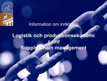 Supply chain management - Student LTH - Lunds Tekniska Högskola
