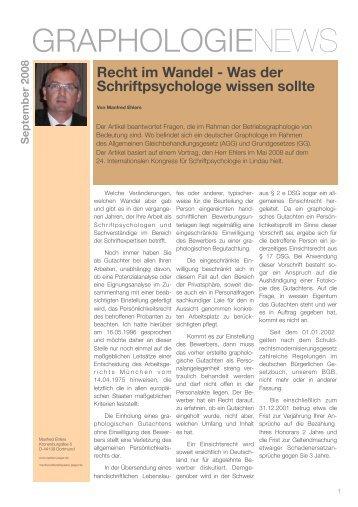 Recht im Wandel - Was der Schriftpsychologe wissen sollte