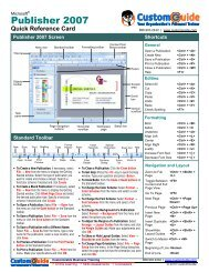 Publisher Quick Reference, Microsoft Publisher 2007 Cheat Sheet