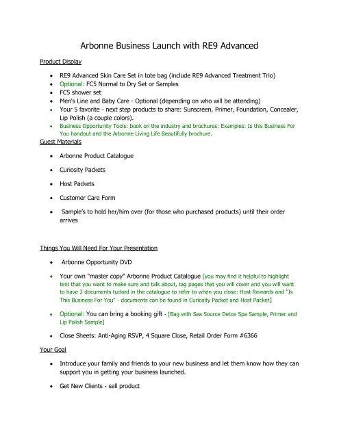Arbonne Business Launch with RE9 Advanced Script