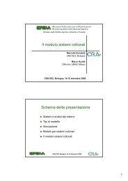 Il modulo sistemi colturali Schema della presentazione - sipeaa