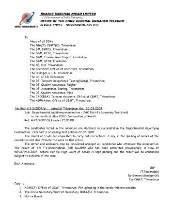 To Head of all SSAs The PGM(F), CGMT(O), Trivandrum The GM ...