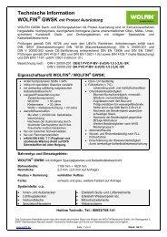 Technische Datenblatt - WOLFIN Bautechnik