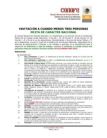 Convocatoria Uniformes y ropa de trabajo - conafe.edu.mx
