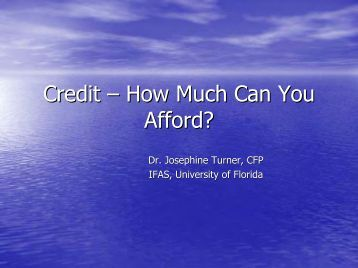 Credit – How Much Can You Afford? - University of Florida Family ...