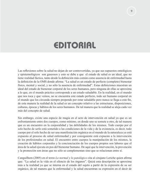 EDITORIAL - Hacia la Promoción de la Salud - Universidad de Caldas