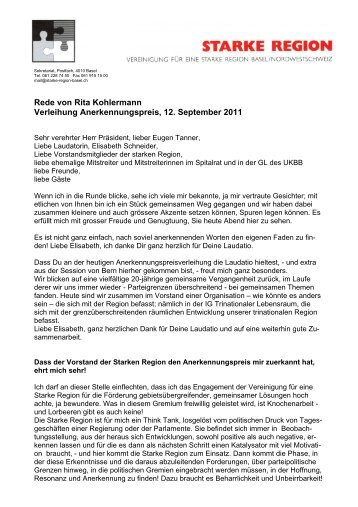 anerkennungspreis 2011 rede pdf vereinigung fr eine starke - Begrungsrede Beispiele