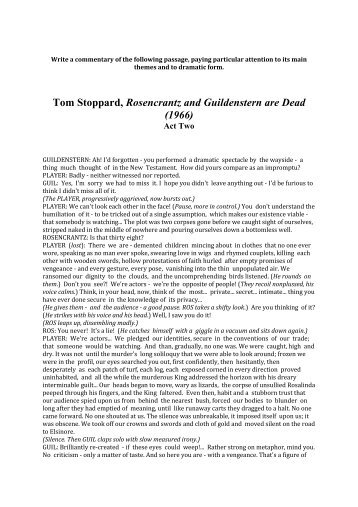 Tom Stoppard, Rosencrantz and Guildenstern are Dead (1966)