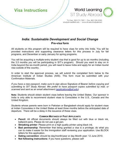 India AIIS biodata form - School for International Training