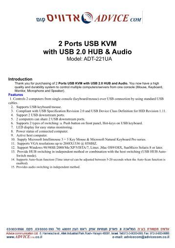 2 Ports USB KVM with USB 2.0 HUB & Audio